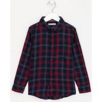 Camisa Infantil Manga Longa Estampa Xadrez Com Bolso - Tam 5 A 14 | Fuzarka (5 A 14 Anos) | Multicores | 7-8