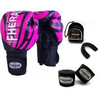 Kit Boxe Muay Thai Fheras New Top Luva + Bandagem Elite Rosa 005