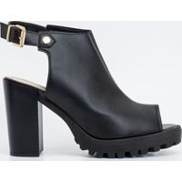Sapato Feminino Peep Toe Solado Tratorado Moleca