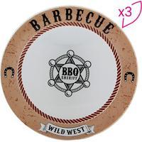 """Jogo De Pratos Rasos """"Barbecue""""- Branco & Bege- 3Pçsdecor Glass"""