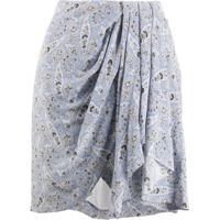 Isabel Marant Paisley Draped Mini Silk Skirt - Azul