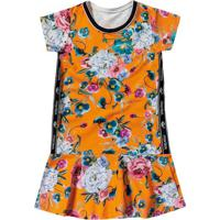 Vestido Floral Com Recorte- Laranja & Rosa- Marisolmarisol