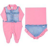 Saída De Maternidade Paraiso Tecido Conforto Jeans Chiclete