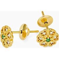 Brinco Em Ouro Trevo Com 1 Esmeralda E 6 Brilhantes - Br15097 Casa Das Alianças Feminino - Feminino-Dourado