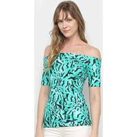 Blusa Colcci Estampada Ombro A Ombro Feminina - Feminino-Verde+Preto