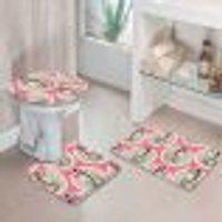Jogo Tapetes Para Banheiro Premium Rosa Único