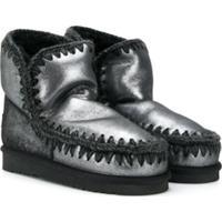 Mou Kids Teen Knit Trim Eskimo Boots - Preto