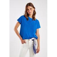 Blusa Malha Básica Gola Rib Sacada Feminina - Feminino-Azul