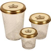Conjunto De 3 Potes Decorativos De Vidro Coroa Ii