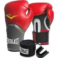 Kit Boxe Elite Everlast 14Oz Vermelha - Unissex