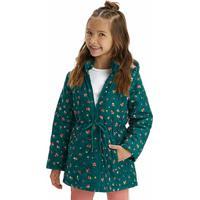 Jaqueta Verde Escuro Estampada Com Amarração