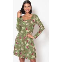 Vestido Floral Com Elã¡Stico- Verde Militar & Vinho- Linho Fino