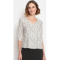 Blusa Abstrata- Off White Marrommilagre