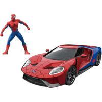 Carrinho E Figura Die-Cast -1:24 - Metals - Disney - Marvel - Spider-Man - Ford Gt - Dtc