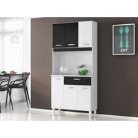 Cozinha 6 Portas Cássia Branco/Preto - Lc Móveis
