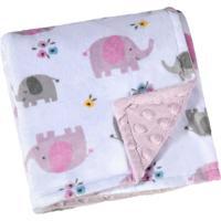 Manta Dupla Face Para Bebê Lepper Fleece Estampada Mini Elefante Rosa