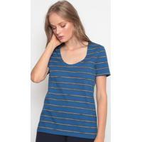 Blusa Listrada Com Bordado- Azul & Brancalacoste