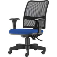 Cadeira Soul Assento Crepe Azul Braco Reto Base Metalica Com Capa - 54222 - Sun House