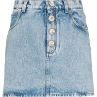 Alessandra Rich Crystal-Button Denim Mini Skirt - Azul