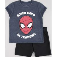 Conjunto Infantil Homem Aranha De Camiseta Manga Curta Azul + Bermuda Em Moletom Preta
