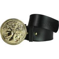 Cinto Higher Greek Coin Dourado - Preto - Feminino - Dafiti