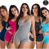 Kit Com 5 Baby Dolls Liso Algodão Paris Click Mais Bonita Feminino - Feminino-Preto