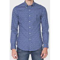 Camisa Polo Ralph Lauren Slim Floral Azul-Marinho