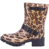 Galocha Animal Print Com Fivelas- Marrom & Pretagasf
