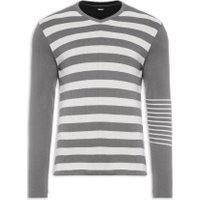 Blusa Masculina Tricot Double Face Listras - Cinza