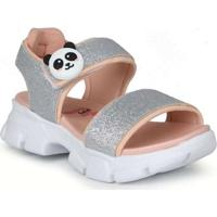 Sandália Papete Infantil Molekinha Panda Prata