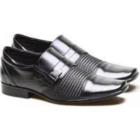 Sapato Social Versales Com Fivela E Tressê Estilo Masculino - Masculino-Preto