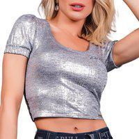 Blusa Cropped Pit Bull Jeans 38647 Pitbull Metalizada Prata