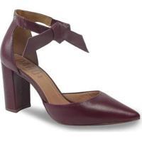 Sapato Scarpin Parô 1.187A Com Amarração Feminino - Feminino-Bordô