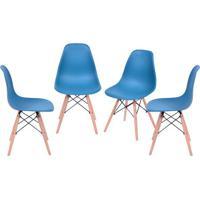 Conjunto De Cadeiras Eames Dkr- Azul Petróleo & Begeor Design