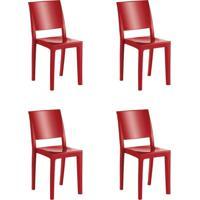 Conjunto 4 Cadeiras Cristal Uz Kappesberg Vermelho