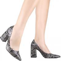Sapato Scarpin Cecconello Animal Print Cinza