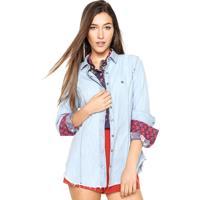 Camisa Jeans Dudalina Delavê Azul