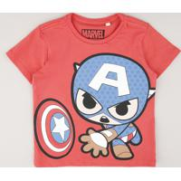 Camiseta Infantil Capitão América Manga Curta Vermelha