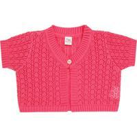 Bolero Curto Para Bebe Em Tricot Pink - Petit 75614423 Bolero M/C Tricot/Can Rosa Candy-1