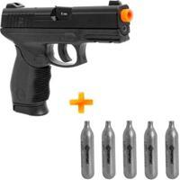 Kit Pistola De Airsoft Pt24/7 Kwc Co2 + 5 Cilindros - Unissex