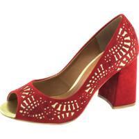 Sapato Torricella Peep Toe Vermelho