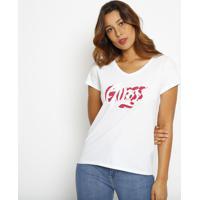 """Blusa """"Guessâ®"""" Com Paint Splatter- Branca & Vermelhaguess"""
