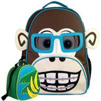 Kit Infantil Mochila Escolar Mumagi + Lancheira Macaco Kinho Masculino - Unissex-Branco+Azul