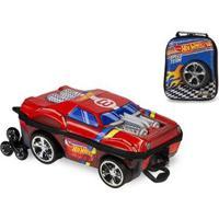 Kit Mochila Hot Wheels Night Shifter 3D Com Rodinhas+ Lancheira Maxtoy - Masculino-Vermelho
