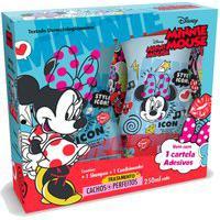 Kit Shampoo + Condicionador Disney Minnie Mouse Tratamento Cachos + Perfeitos Com Cartela Adesivos 250Ml