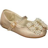 Sapato Boneca Em Couro Com Aplicaã§Ãµes- Dourada- Kidskimey