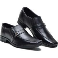 Sapato Social Couro Elástico Lateral Masculino - Masculino-Preto