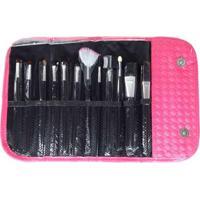 Kit Pincéis Rubys De Maquiagem 12 Peças + Estojo - Unissex-Pink