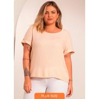 Blusa Plus Size Feminina De Viscolinho Bege