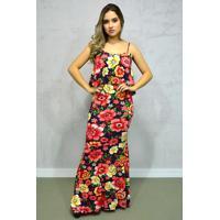 Vestido Longo Viscolycra Floral Babado Alças